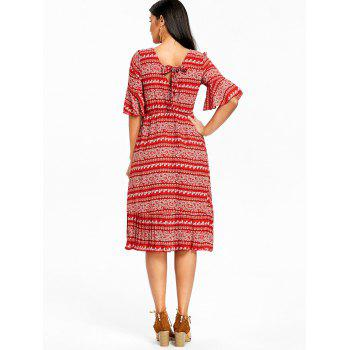 Bohemian Bell manches Floral Midi Dress - Rouge L
