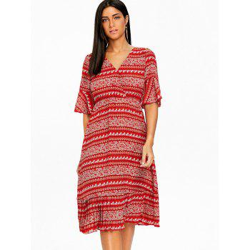 Bohemian Bell Sleeve Floral Midi Dress - RED M