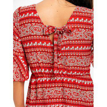 Bohemian Bell Sleeve Floral Midi Dress - RED S