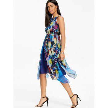 Printed Chiffon Midi Dress - BLUE 2XL