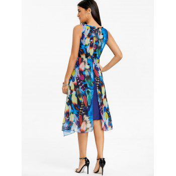Printed Chiffon Midi Dress - BLUE M