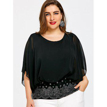 Plus Size Batwing Sleeve Rhinestone Embellished Blouse - BLACK 3XL