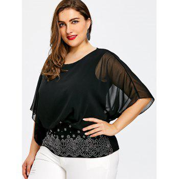 Plus Size Batwing Sleeve Rhinestone Embellished Blouse - BLACK 5XL