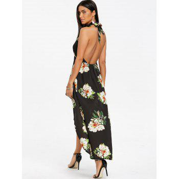 Keyhole Floral Dip Hem Flowy Dress - BLACK M