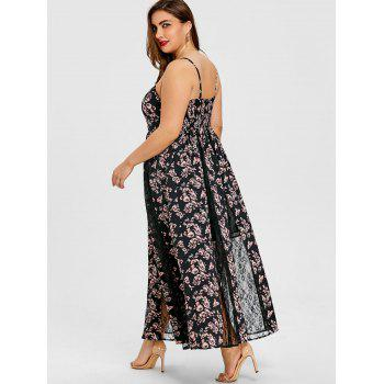 Plus Size Floral Lace Insert Maxi Dress - BLACK XL