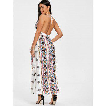 Ethnic Print Backless Halter Maxi Dress - WHITE M