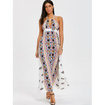 Ethnic Print Backless Halter Maxi Dress - WHITE L