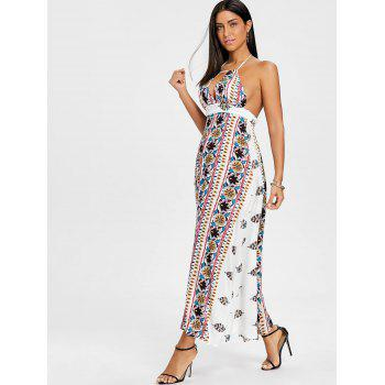 Ethnic Print Backless Halter Maxi Dress - WHITE XL