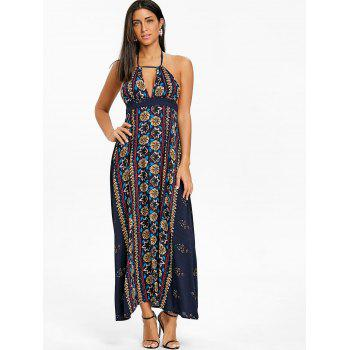 Ethnic Print Backless Halter Maxi Dress - CADETBLUE XL