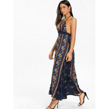 Ethnic Print Backless Halter Maxi Dress - CADETBLUE S