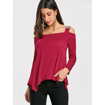 Long Sleeve Sequins Cold Shoulder T-shirt - RED L