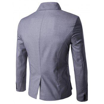 Asymmetric Single Breasted Blazer - LIGHT GRAY 2XL