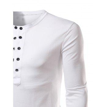 Long Sleeve Half Buttons T-shirt - WHITE 2XL