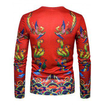 Phoenix Chinese Style Print T-shirt - RED XL