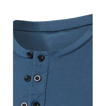 Long Sleeve Half Buttons T-shirt - BLUE L