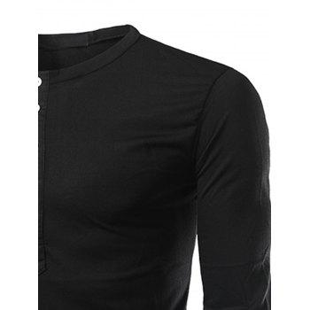 Long Sleeve Half Buttons T-shirt - BLACK XL