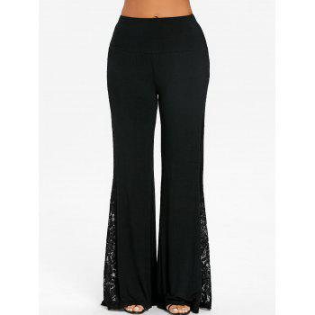 High Waist Lace Insert Wide Leg Pants - BLACK L