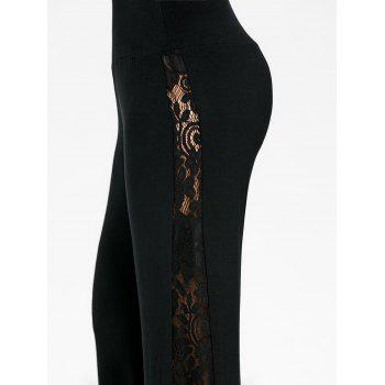 High Waist Lace Insert Wide Leg Pants - BLACK 2XL