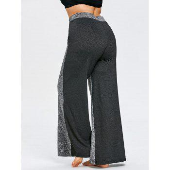 Color Block Plus Size Wide Legged Pants - GRAY 4XL