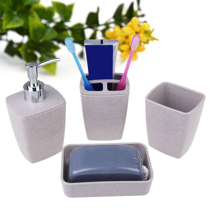 4PCS Environmentally Friendly Bathroom Accessory Set - GRAY