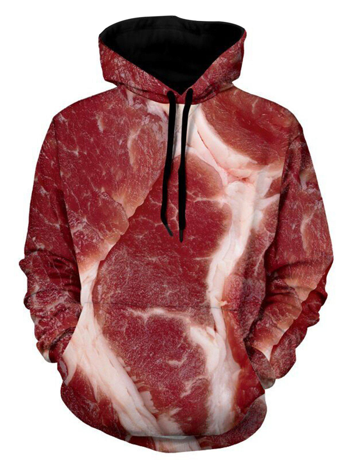 Streaks of Fat and Lean Print Pullover Hoodie - COLORMIX 3XL