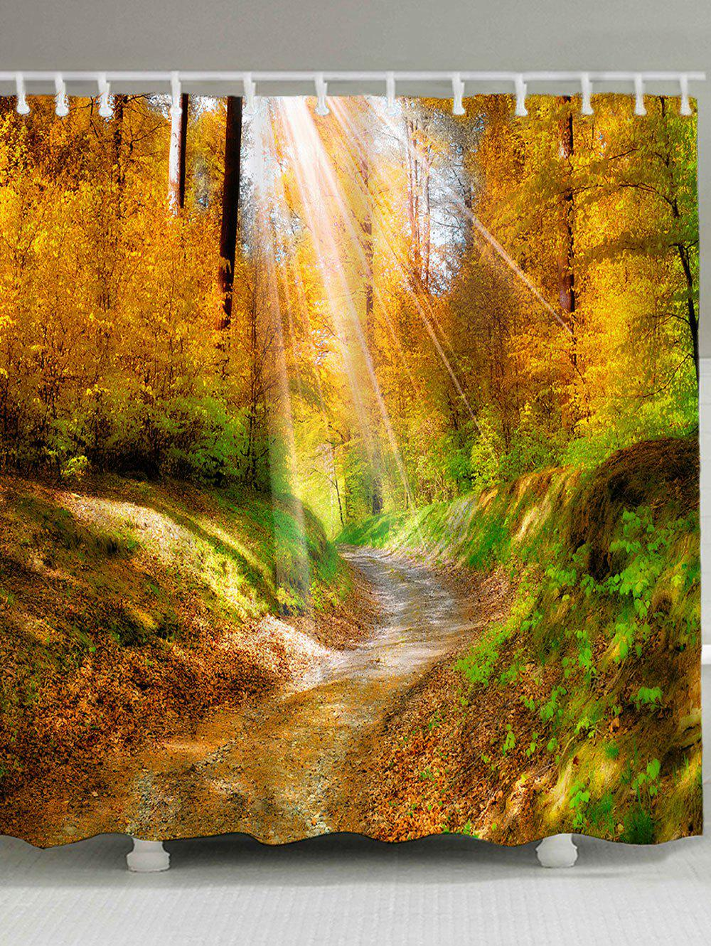 Waterproof Sunlight Forest Pathway Print Bath Curtain saturn st fp9081