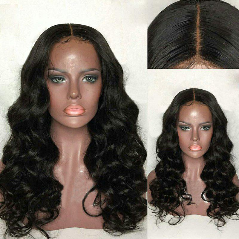 Long Middle Part Fluffy Loose Wave Lace Front Human Hair Wig - BLACK