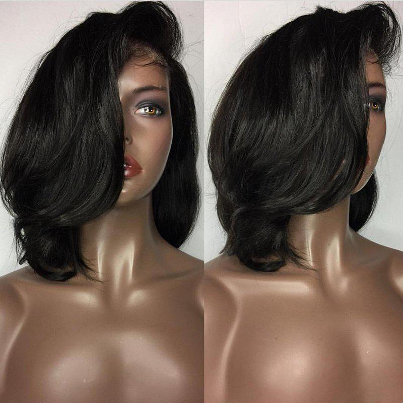 Short Deep Side Parting Wavy Bob Human Hair Lace Front Wig - BLACK
