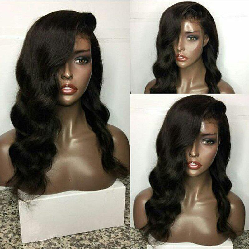 Deep Side Parting Long Body Wave Lace Front Human Hair Wig - BLACK