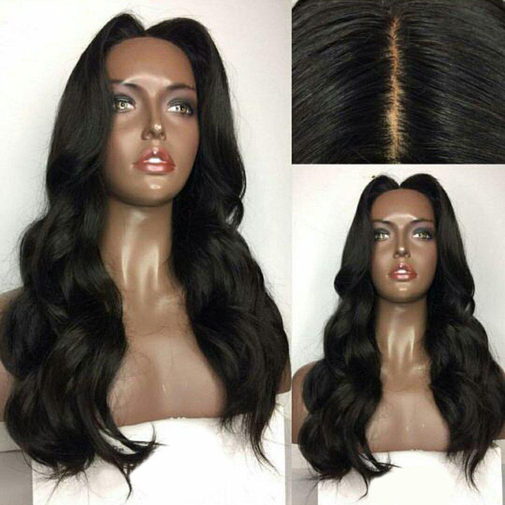 Long Center Parting Body Wave Human Hair Lace Front Wig - BLACK