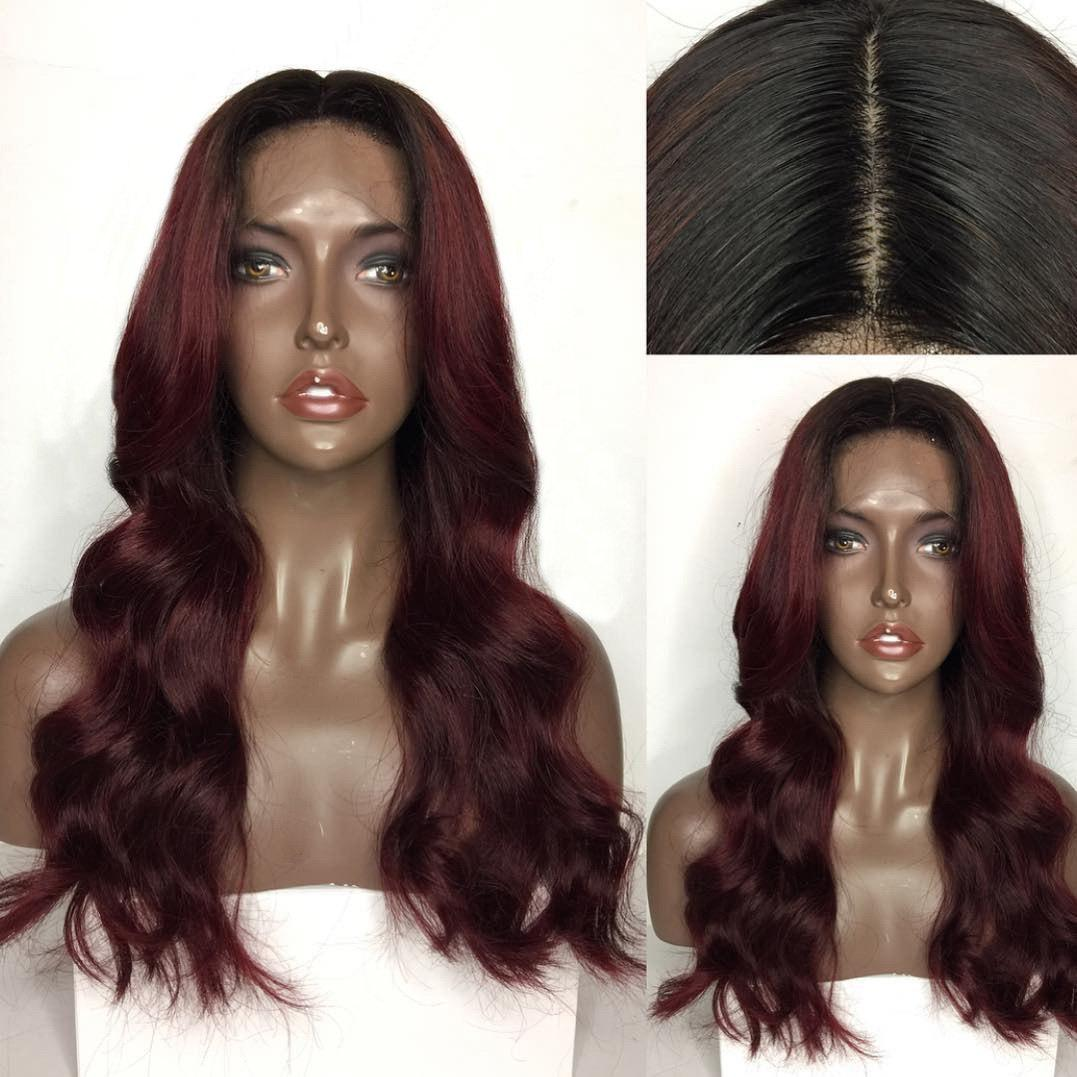 Long Center Parting Body Wave Colormix Human Hair Lace Front Wig - BLACK/RED