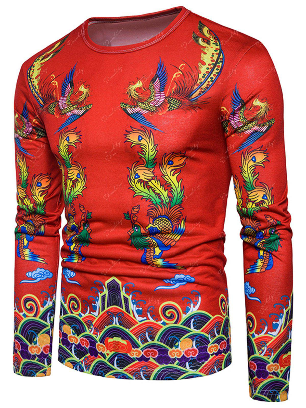 Phoenix Chinese Style Print T-shirt - RED L