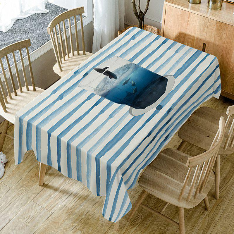 Cup Striped Print Fabric Table Cloth - LIGHT BLUE W54 INCH * L54 INCH