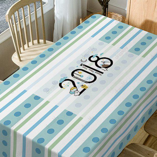 2018 Stripe Print Waterproof Table Cloth - COLORMIX W54 INCH * L72 INCH
