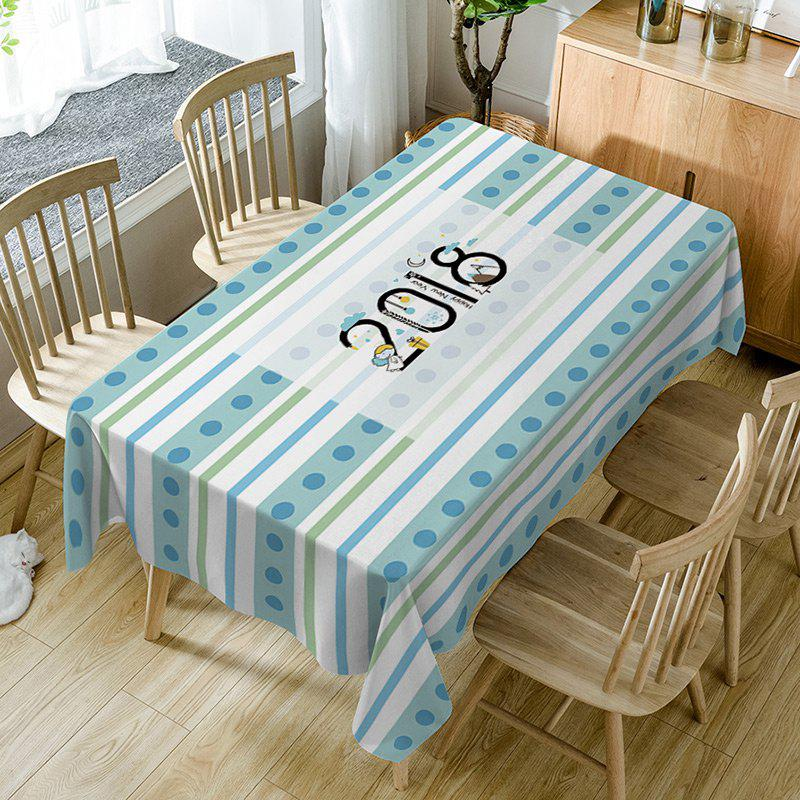 Nappe de Table Imperméable à Imprimé Rayures et Inscription 2018 - multicolore W54 INCH * L72 INCH