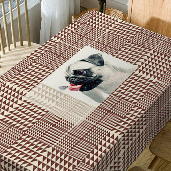 Dog Geometric Print Waterproof Table Cloth - BROWN W54 INCH * L72 INCH