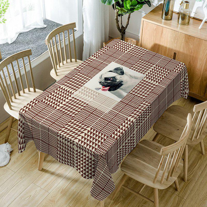 Dog Geometric Print Waterproof Table Cloth - BROWN W60 INCH * L84 INCH