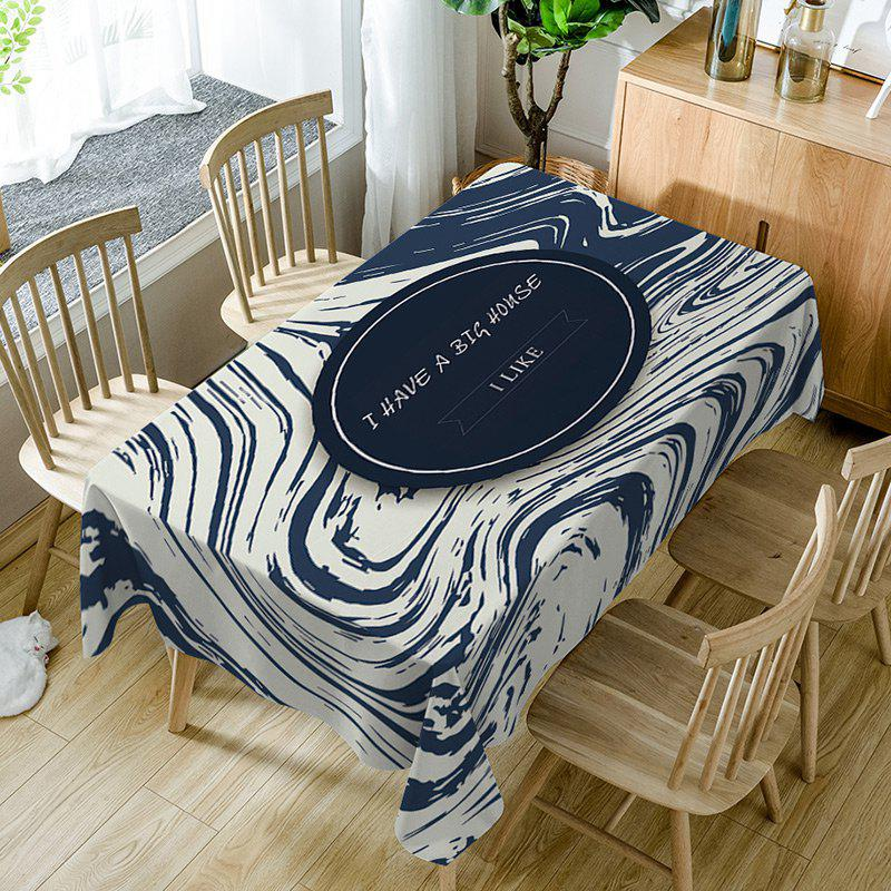 Letters Print Waterproof Table Cloth - CERULEAN W54 INCH * L72 INCH