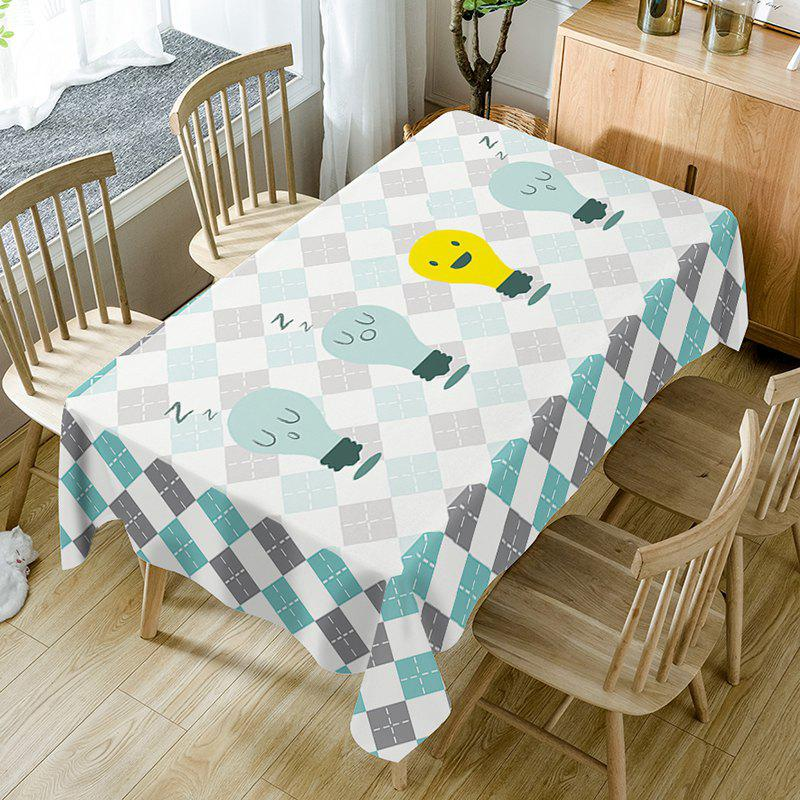 Cartoon Lamp Plaid Print Waterproof Table Cloth - COLORMIX W54 INCH * L72 INCH