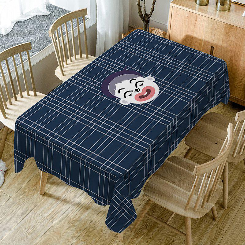 Cartoon Boy Plaid Print Waterproof Table Cloth - DARK BLUE W60 INCH * L84 INCH