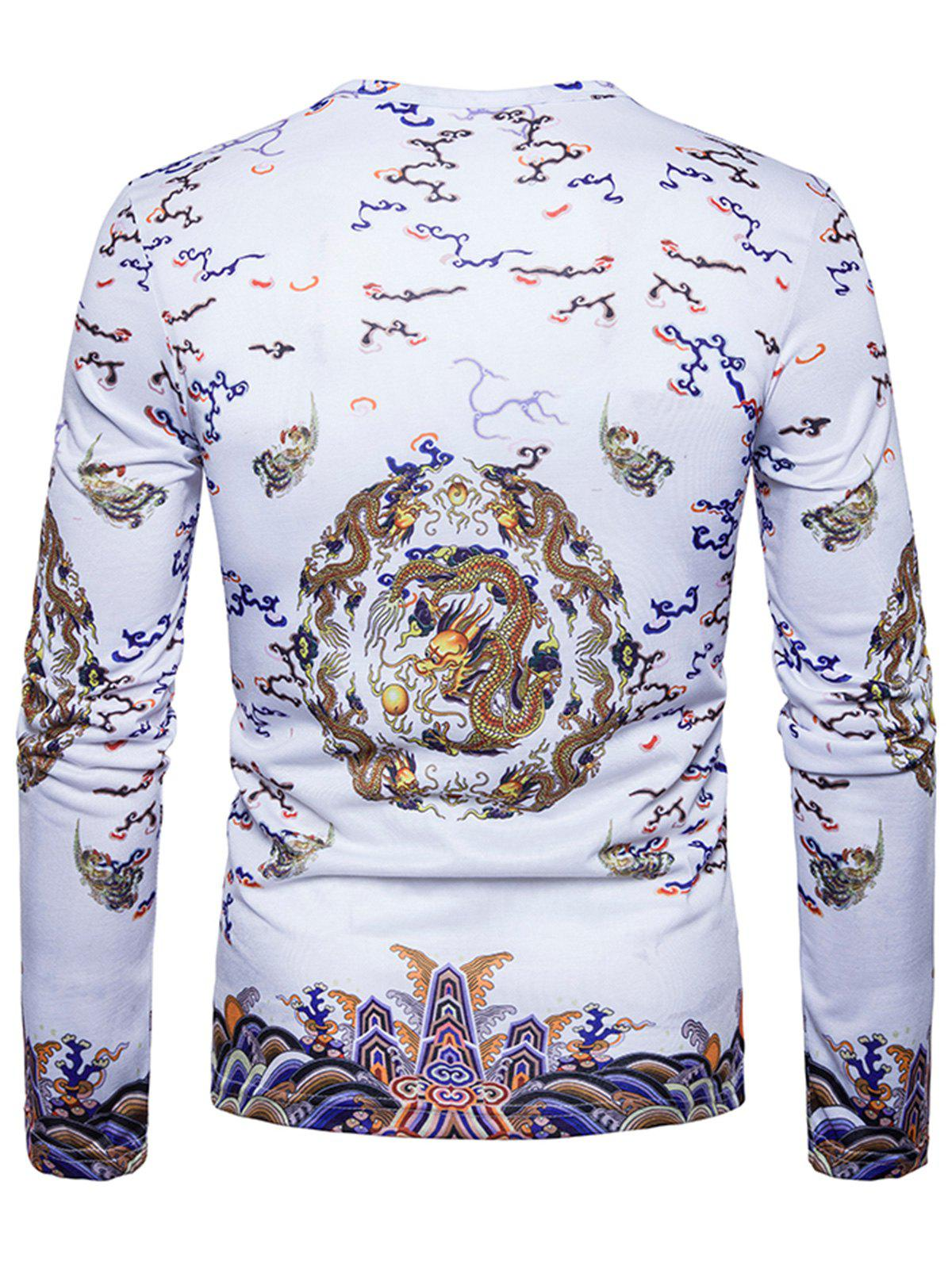 Chinese Style Dragons Print Vintage T-shirt - WHITE L