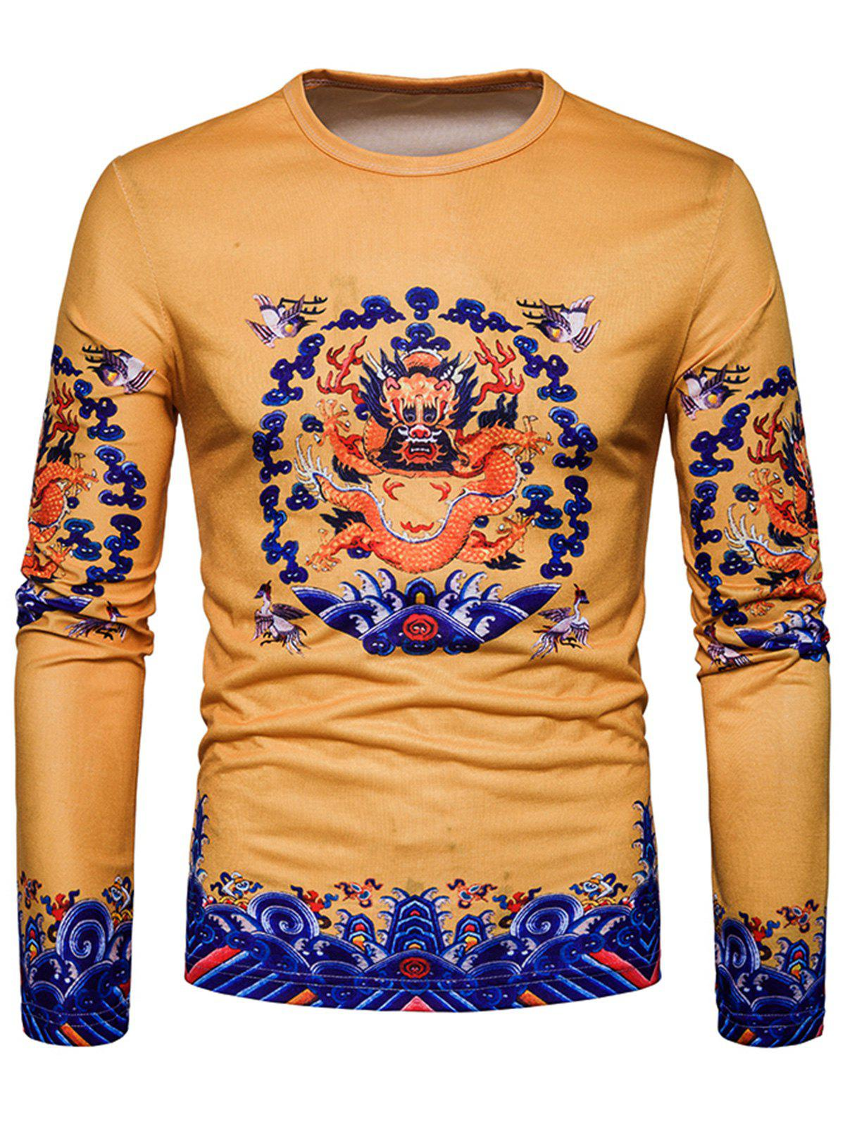 Crew Neck Dragon Print T-shirt - YELLOW 2XL