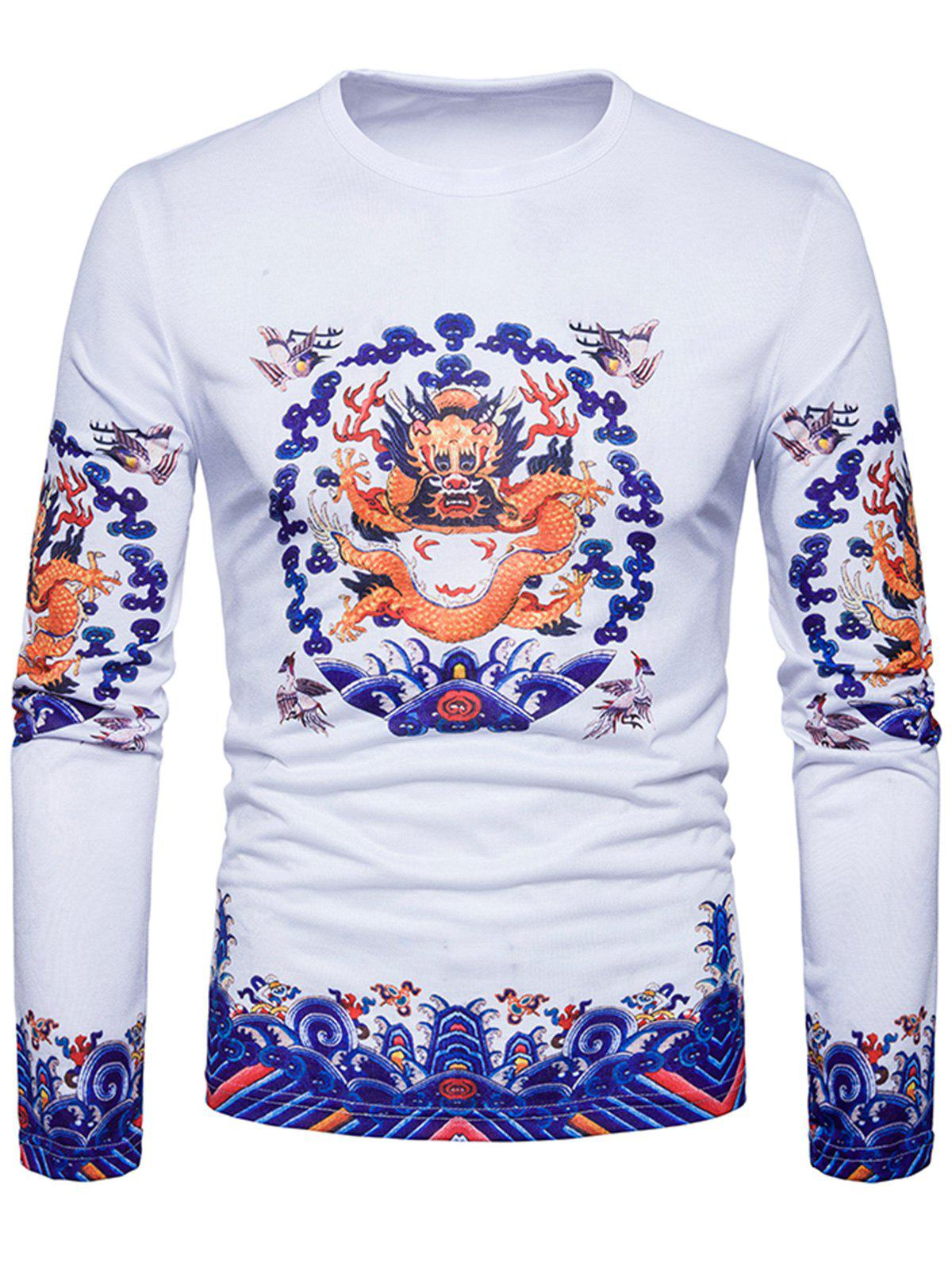 Crew Neck Dragon Print T-shirt - WHITE M