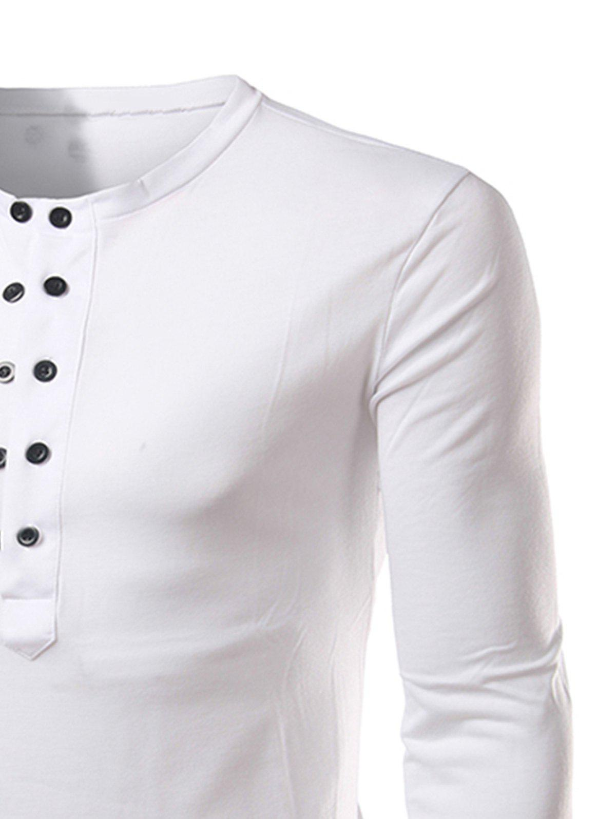Long Sleeve Half Buttons T-shirt - WHITE XL