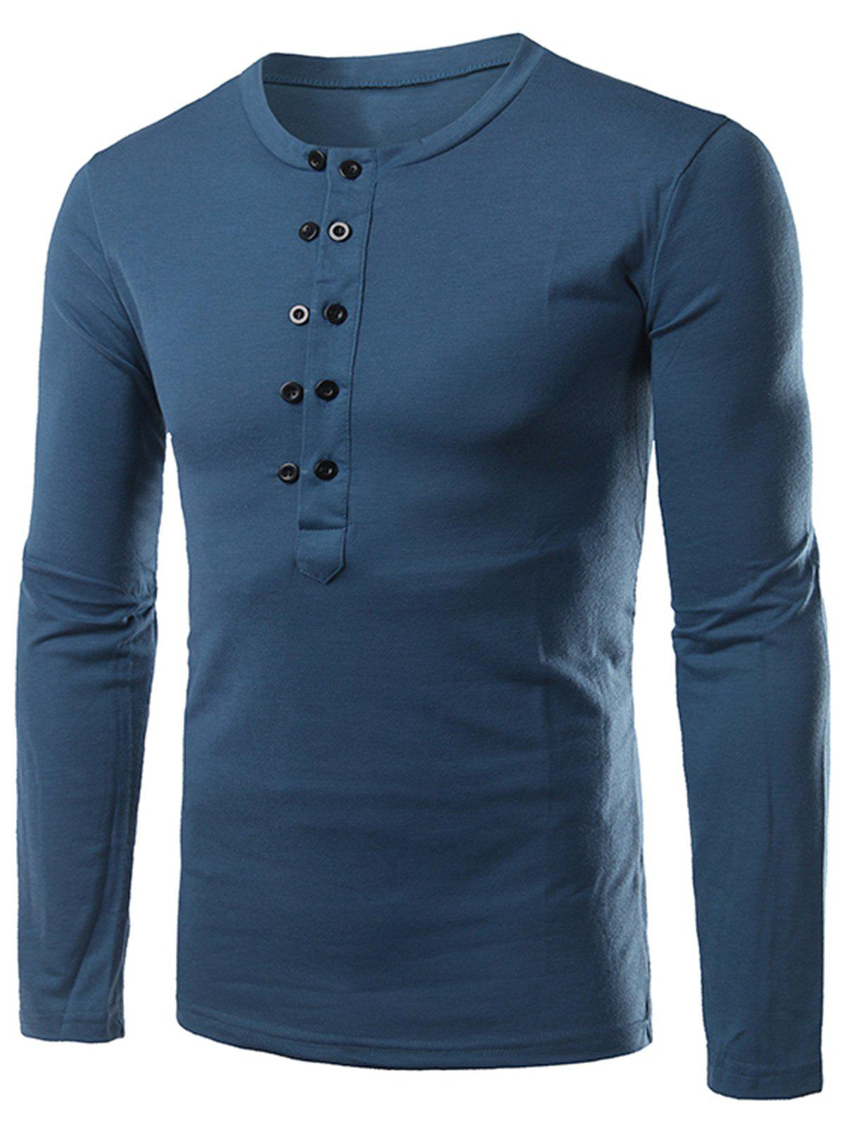 Long Sleeve Half Buttons T-shirt - BLUE 2XL