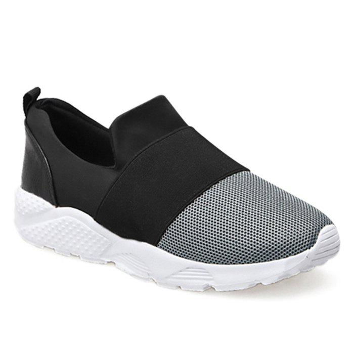 Color Block Mesh Upper Slip On Sneakers - GRAY 40