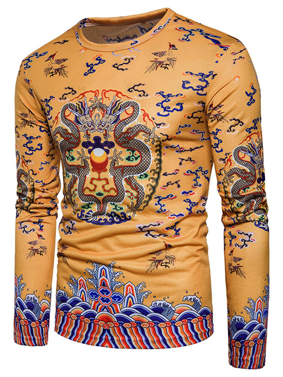 Long Sleeve Chinese Style Dragons Print T-shirt - YELLOW XL