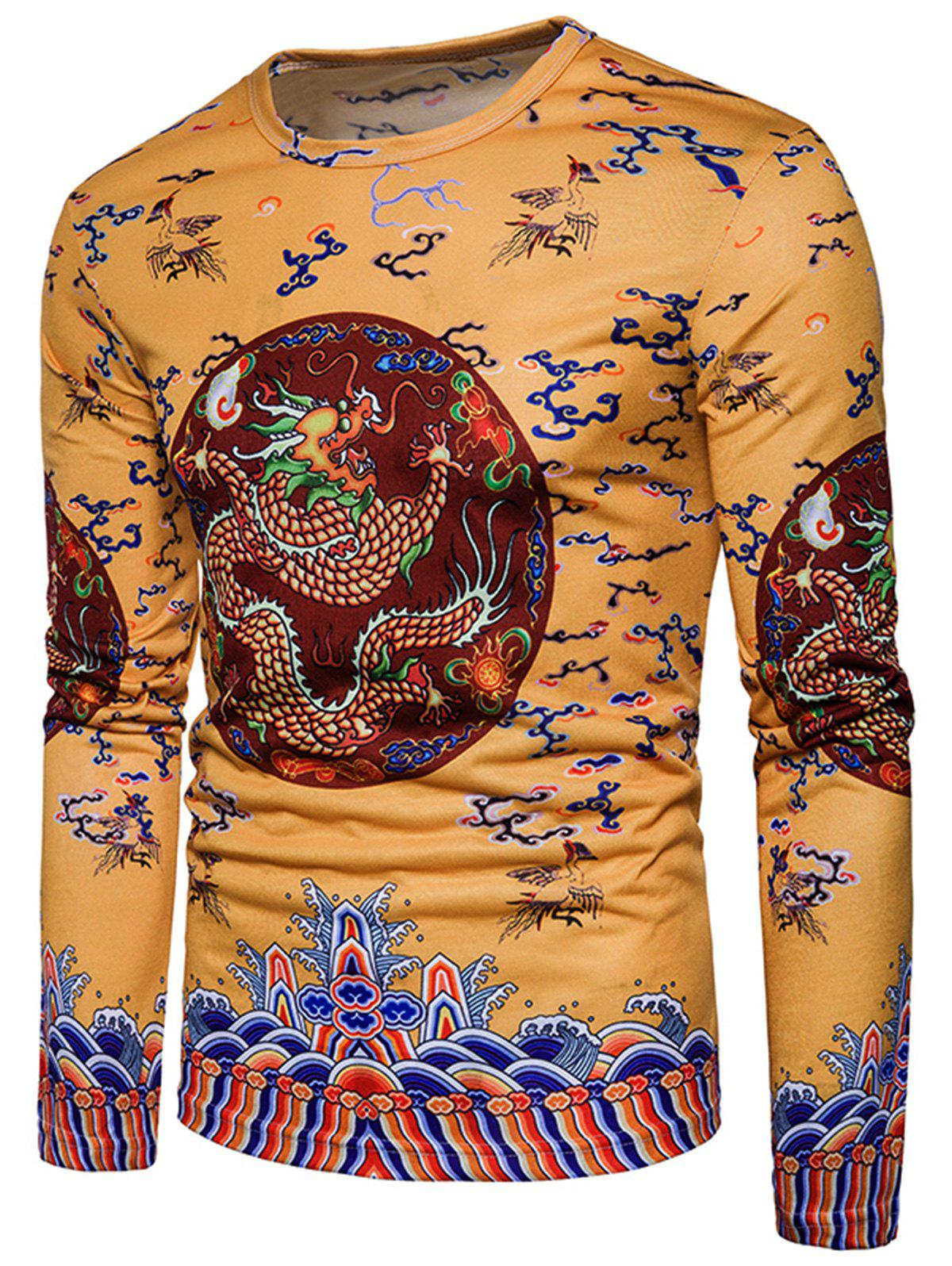 Long Sleeve Chinese Style Dragon Printed T-shirt - YELLOW 2XL