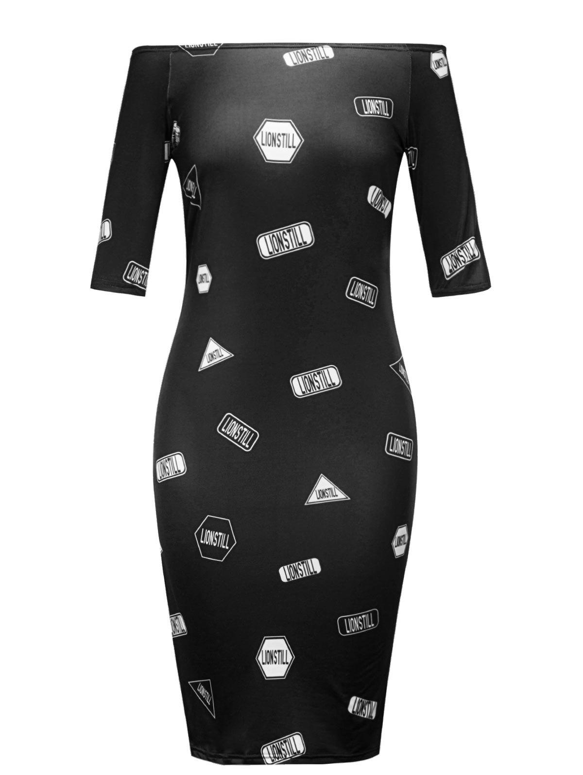 Letter Printed Off The Shoulder Bodycon Dress - BLACK S