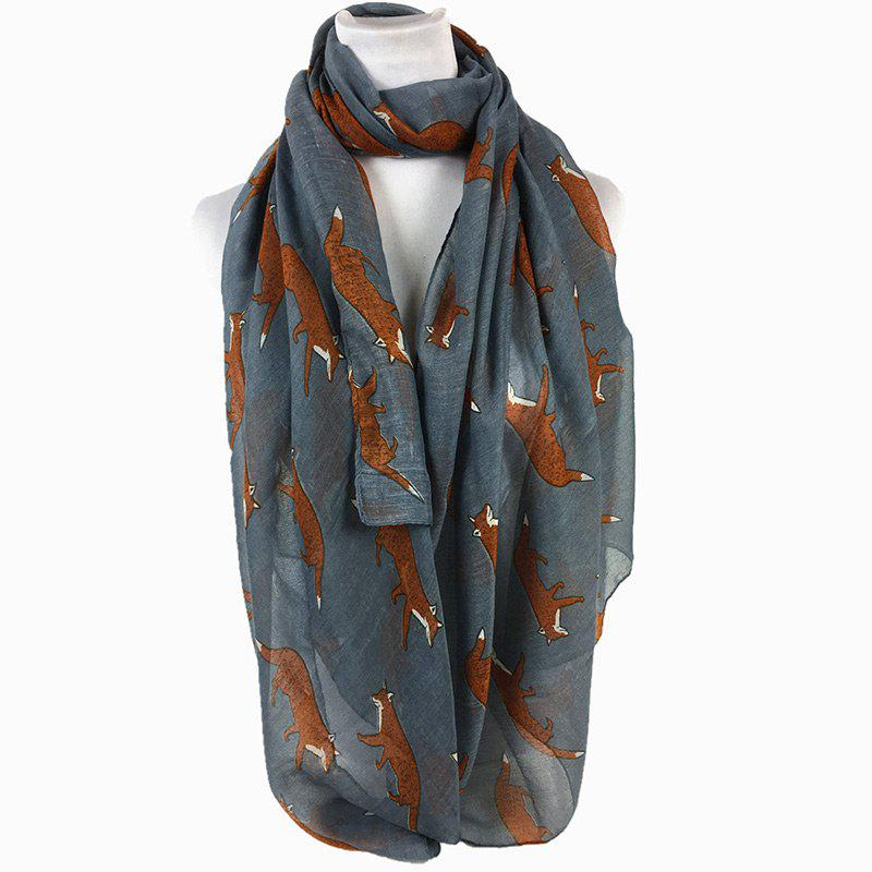 Cute Jumping Fox Pattern Silky Long Scarf - GRAY